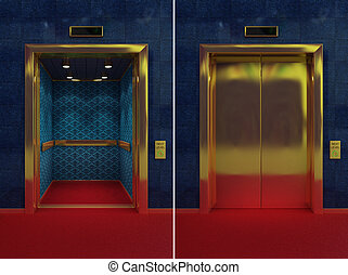 Open and closed elevator - Two images of a luxurious...