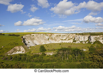 old limestone quarry - an old limestone quarry surrounded by...