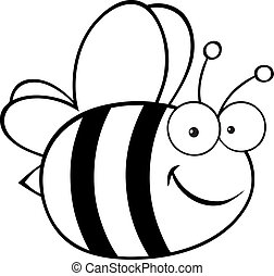 Outlined Cute Cartoon Bee.Raster illustration