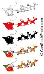 Santa Claus And Team Of Reindeer In His Sleigh Flying...