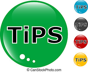 Tips glass button icon - Tips set of colored button glass...