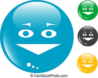 Smile glass button icon - Smile set of colored button glass...