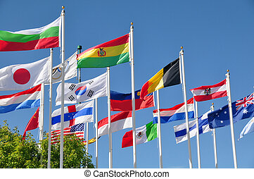 Flags of the world - International flags flutter in the...