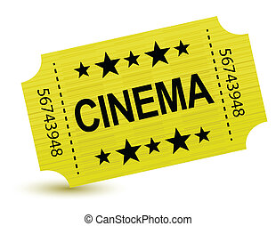 Yellow cinema ticket illustration design over white