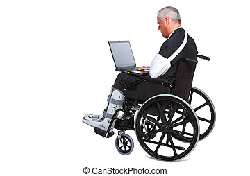 Injured businessman on laptop in a wheelchair isolated