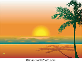 Beach Background 1 - Vector Illustration of Beach Background...