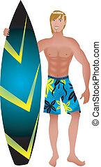Surfer Guy - Vector Illustration of an athletic surfer with...