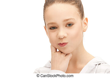 pensive teenage girl - bright closeup picture of pensive...