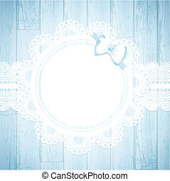 lace round frame at wooden background