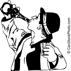 drinking from the bottle man - black and white drawing men...