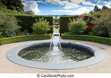 Water feature in Alnwick Castle gardens northumberland