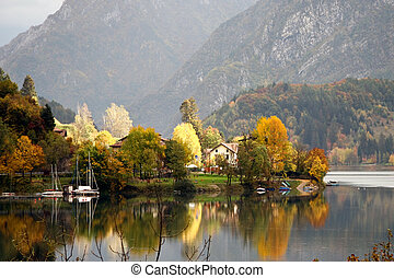 Scenic autumn view over Lago d'Idro Italy