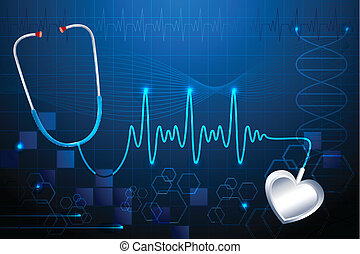 Stethescope showing Heart Beat - illustration of stethoscope...
