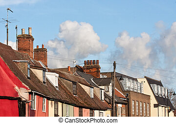 suffolk rooftops - colorful houses in bury st edmunds