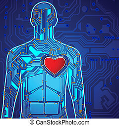 Human Heart Technology - illustration of heart connected...