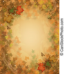 Fall Leaves Autumn background - Illustration composition for...