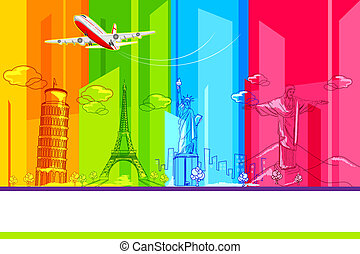 Around the World - illustration of historic monument with...