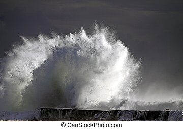 Tsunami - Big wave against lighthouse in the north of...