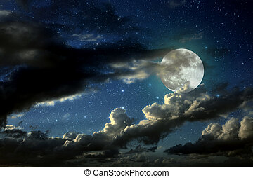 Full moon night - Illustration of an interesting full moon...