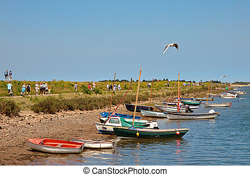 Some brightly coloured boats at Wells Next the Sea