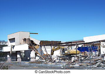 Commercial Demolition - Shopping center being demolished to...