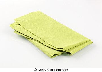 Green napkin - Light green napkin folded on white background