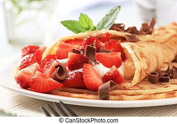 Crepes, dulce, queso, fresas