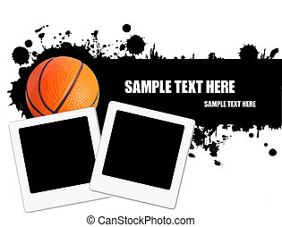 Grunge basketball background - Grunge basketball ball...