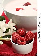 frambuesa, yogur