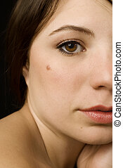 Portrait of a Girl with Beauty Mark - Stunning half-face...
