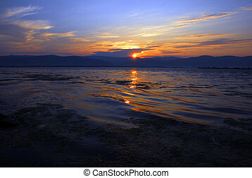 Sunrise over river - beautiful sunrise over Danube in...