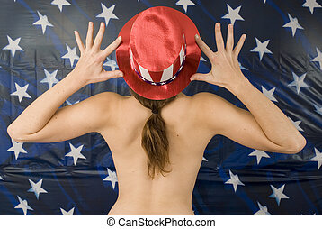4th of July Girl - Rear view of girl in patriotic hat