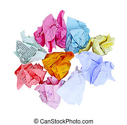 Crumbled Paper - Colorful crumbled office paper isolated on...