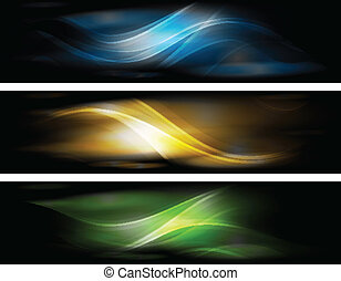 Abstract glowing banners collection - Set of elegant...