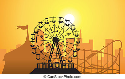 vector silhouettes of a city and amusement park with circus,...