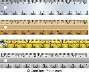 vector set of rulers and measuring tape in millimeters,...