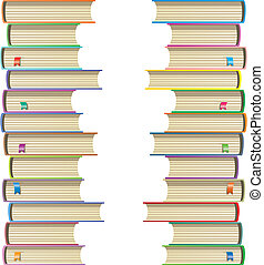 vector illustration of books with bookmarks