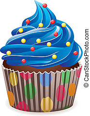 blue cupcake - vector blue cupcake with sprinkles