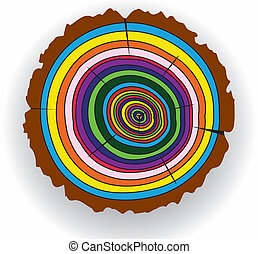 colorful wooden cut
