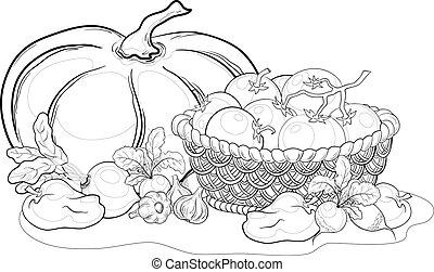 Vegetables, still life, outline