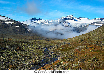 View onto the Galdhopiggen, the highest peak of Norway, from...