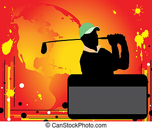 Advertising of golf - Silhouette of player in a golf on red...