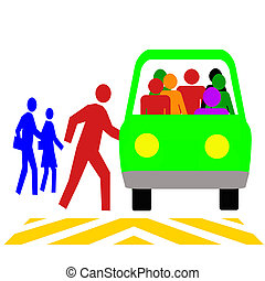 colorful commuters using public transit vehicle illustration