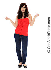 Clueless young woman. All on white background.