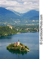 Lake Bled in Slovenia - Panoramic View of St. Mary?s Church...