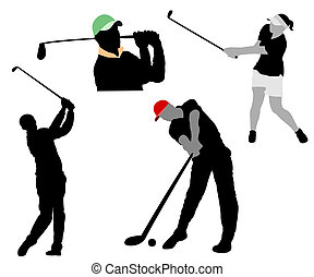 Golf - Silhouettes of players in a golf on white background