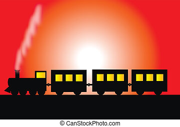 Steam locomotive with wagons - vector illustration