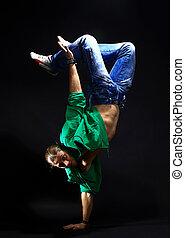 elegante, fresco, breakdance, estilo, dançarino,...