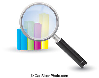 Magnifying glass with a chart - Illustration of a magnifying...