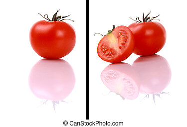 fresh and juicy tomato over a reflective surface
